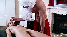 This naughty Santa won't leave things with her at just a massage