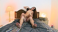 The hottie rides that dick like she's on a mission and loves every moment of it