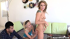 Sweet babes Kayla Paige, Taylor Russo and Rebecca Blue teasing two guys