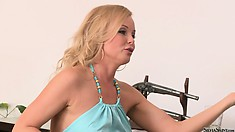 Sweet slim babe in a casting showing her sexy body for Silvia Saint to analyze