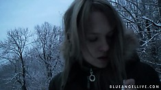 Smoking hot european teen goes for a nice walk in the winter time
