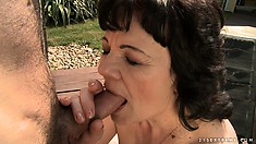 She pulls out his joint and gives head before he nails her from behind