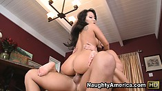 Asa Akira blows horny guy and then allows him to fuck her hard