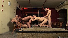 Eager to bring common fantasies to life, four horny guys set up a gay encounter