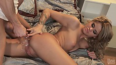 The horny blonde can't get enough of riding that dick and getting fucked from behind