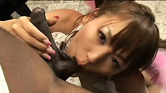 Seductive Asian babe Hanamizuki drops to her knees and pleases a huge black cock