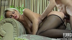 Dolly sucks his cock and puts herself in position to get her ass fucked doggy style