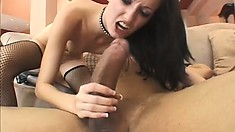 She gets some interracial action when he fucks her standing up