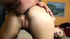Slender blonde with tiny tits and a superb ass Melanie gets her pussy drilled deep