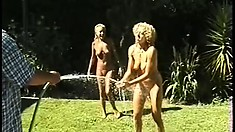 These boys like to watch the girls getting naked and naughty in the backyard till dark
