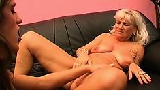 Sensual older lesbian slut Julie goes down on her young lover Carolyn