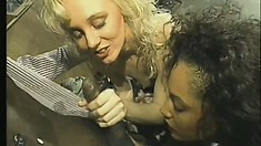 Black couple plays with their blonde white bitch in the garage