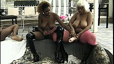Chubby black bitches stuff each other with their thick sex toys