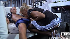 Blonde maid in stockings performs an extra service for her master