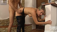 Barely legal blonde babe in sexy black stockings gets fucked hard