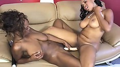 Two stacked ebony lesbians use a few sex toys to reach the pleasure they desire