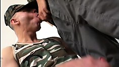 Handsome soldiers work out by fucking each other nice and hard