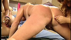 Horny lesbian babes in a wild orgy of working tongues and toys