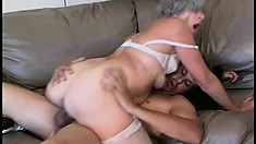 Horny grandma is eager to mount this young stud's vicious boner