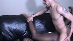Cute black twink has a hot ebony stud fucking his tight ass deep and rough