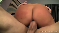 Blonde babe works hard to try and get a big load of fresh cum