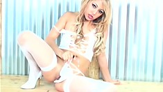 Asian blonde is one hot babe trying to turn you on while she masturbates