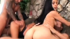 Katalina and Ivanna getting pounded hard side by side on the couch