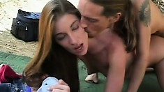 Amiable couzie with tiny tits Brandi Lyons is fucked outside and cums hard