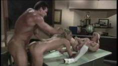 Lee Stone puts his big cock to work on Calli Cox and Angel Long