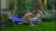 Kinky dude has wild boffing in backyard and gets sperm on his back
