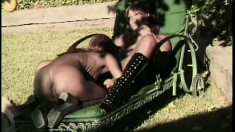 Pretty black lesbians drive each other's pussies to climax by the pool