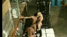 The warehouse boss left for the day so they took a break for gay sex