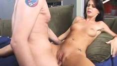Jenna fucks his cock in every position and cums when he shoots his load