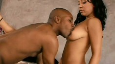 Drop-dead gorgeous bitches tag team a lucky black guy's big wang