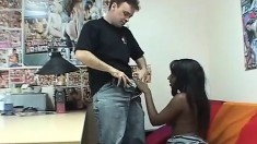 Two sexy black girls with slender bodies have a white stud fucking their pussies