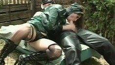 Slave led to the backyard, gets a rough face and ass fucking and a mouthful of jizz