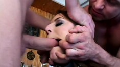 These two dudes in some BDSM with their fuck toy and cum in her mouth