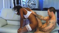 Good looking black nurse Tracy Vegas screws her patient's rod