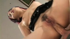 His big boner is just what this nasty Asian slave is eager to fill all her holes with