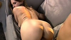 Wonderful girl with awesome tits and ass fucks a big black rod outside