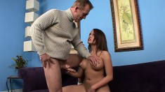 Naughty Nicole gives her lucky boyfriend a very teasing handjob