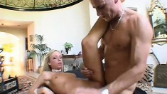Mesmerizing blonde puts her amazing body on display and wildly fucks a long stick
