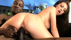 Myah Monroe services his big black cock and cums from fucking it