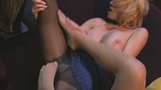 Two banging hot lesbians indulge in their naughty foot fetish