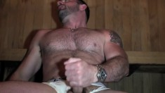 Muscled studs Morgan and Dominic have hot bareback sex in the sauna