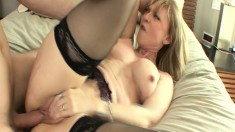 Lusty older woman gets her pussy worked by an eager young stud