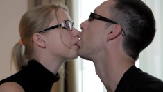 Blonde cocksucker gets her mouth-watering cooch reamed by a lusty stud