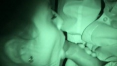 Teen skank gets filmed in the dark while having a clothed quickie