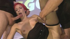 Hanna and another girl are experiencing their first taste of warm cum