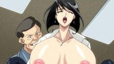 Busty short haired brunette babe gets teased and fucked in a hentai